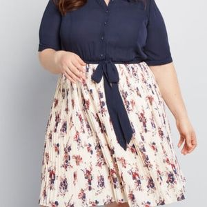 Modcloth Adored Duet A-line Floral Shirt Dres